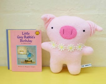 Cute Pig Plush, a Little Pink Pig Soft Toy with Curly Ears and a Pretty Daisy Collar