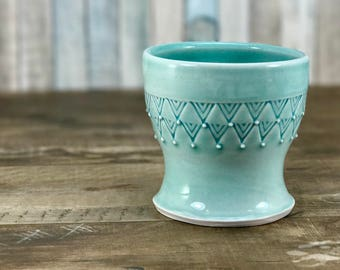 Small porcelain cup.  Bathroom water cup.  Aquamarine glazed cup.  Turquoise bathroom accessories.  Aquamarine bathroom set.  Ceramic cup.