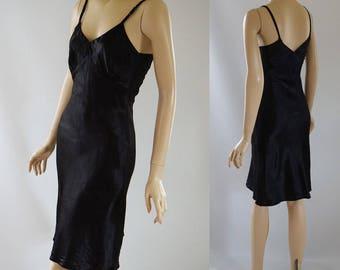 Vintage 1940s Black Satin Stretch Rayon Slip NWT Sz 32 B34 W30