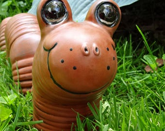 Ceramic Garden Worm Large in Terracotta