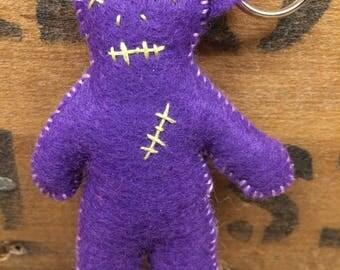 Purple Felt Plush Voodoo Doll Keychain