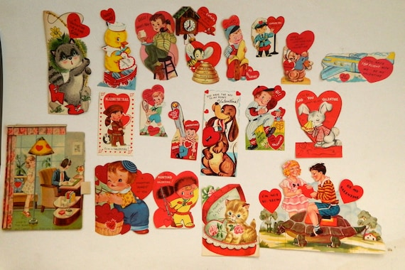 Lot of 20 Vintage Valentines Instant Collection
