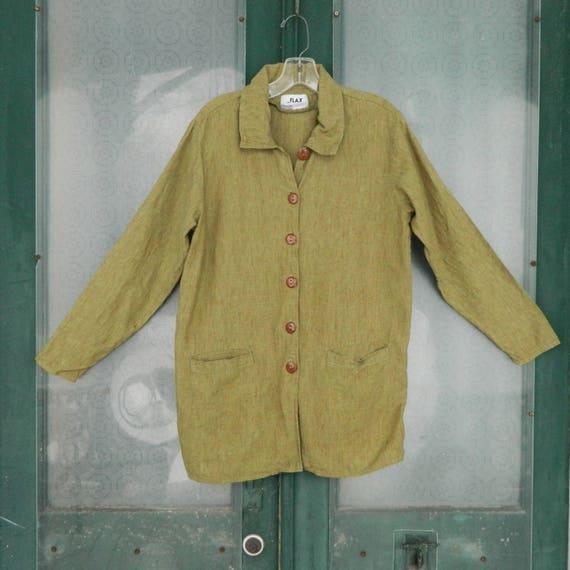 FLAX Engelheart Basic 2000 Journey's Placket Jacket -XS/P- Guacamole Linen