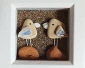 Scottish Sea Pottery Birds Picture - Handmade in Scotland - Seaside Decor - Bird Lovers Gift - Birdwatcher Gifts - Wedding - Anniversary