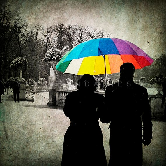 Winter Print, Paris Print, Paris Decor, Paris Art, rainbow umbrella, umbrella print, Winter garden, colorful umbrella, Paris photography