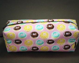 Boxy Makeup Bag - Delicious Dainty Doughnut Print Zipper - Pencil Pouch - Donuts