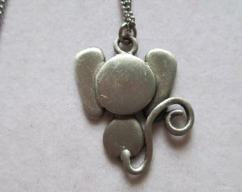 Celebrity silver mouse pendant on chain necklace super cute