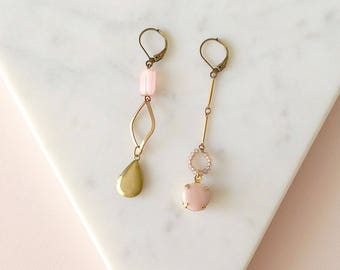 Pink Asymmetric Earrings  - Mismatched Earrings - Locket - Pastel Pink - Souffle (SD1203)