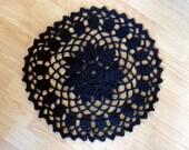 Seven Petal Doily Thick Cotton Crochet Black 17 Inches