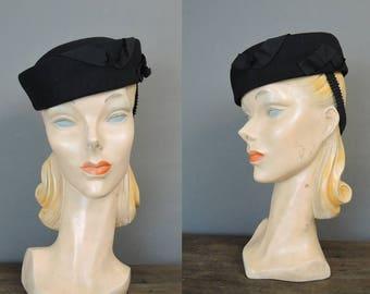 Vintage Black Felt Hat, Tilt Hat with Strap, fits 22 inch head, 1940s E.J. Slattery Co.