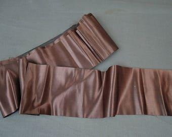 Antique Brown Silk Ribbon, 4-7/8 Yards, 4 inches wide, Vintage Edwardian 1900s, Black back