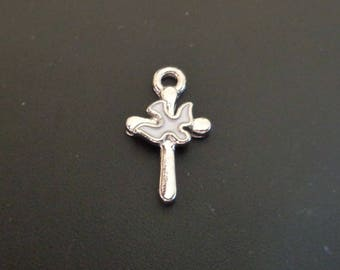 Sweet Small Cross & Dove Charm - Low Shipping