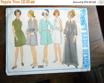 Christmas in July Vintage Vogue Pattern #2152 Retro Shirt Style Dress with Large Pointed Collar Size 12