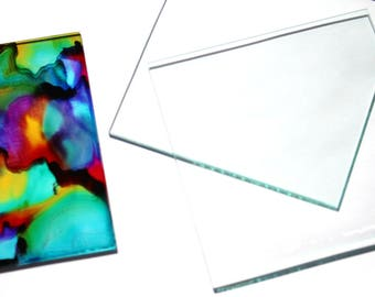4 x 4 inch  Glass Tiles 16 Squares Large DIY Blank for Coasters Memory  Clear  2mm Sheets Thin Transparent