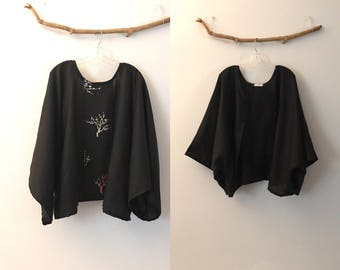 black linen twig motif kimono jacket  only  ready to wear