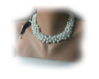Bridesmaids  Gifts, White Glass Pearl Wedding Necklace ,Satin Ribbon,