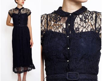 Vintage 50's Dark Navy Blue Lace Midi Dress with Sheer Illusion Bodice, High Peter Pan Collar and Rhinestone Buttons by Jonathan Logan | XS