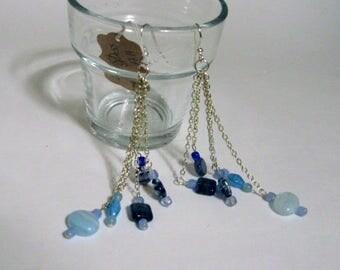 Czech Glass dangle earrings/Silver filled chain/sterling Silver ear wires/largest bead is 6mm