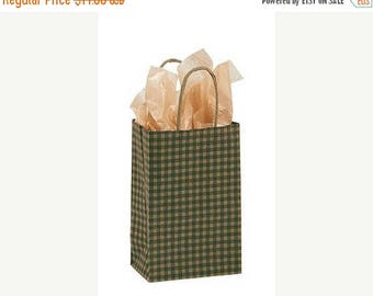 New Years Sale 25 pack Green and Kraft Gingham Recycled 5.25 x 3.5 x 8.5 inch Paper Handle Bags