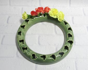 Ceramic Flower Ring - Posy Flower Wreath - Tabletop Decor - Centerpiece - Pottery Flower wreath - Bud Vase - Pottery Ring for Small Flowers