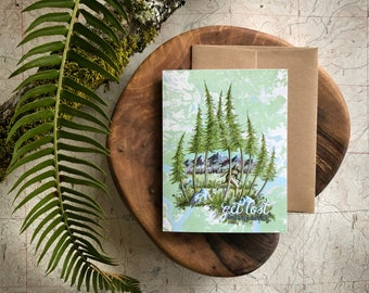 Bigfood Greeting Card, Get Lost to find yourself Sasquatch illustration card, PNW card, outdoorsman card, Rustic mountain blank card