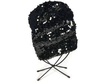 Girls Black Sequin Sparkle Hat Custom Size Custom Lined Black Sequin Slouchy Beanie Children's Sequin Hats Girls Sequined Hats Glam Hats
