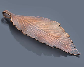 Small Elm Leaf Ornament, copper leaf ornament, metal ornament, botanical decor, leaf pendant, hostess gift