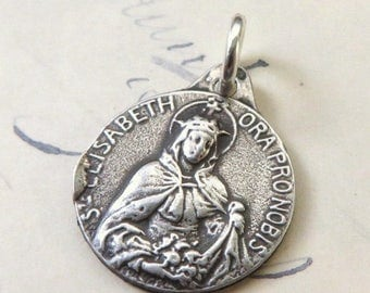 ON SALE St Elizabeth medal-Patron of bakers and brides - Antique Reproduction