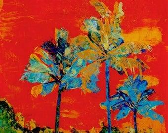 Tropical palm trees 8x8 art prints from Kauai Hawaii for home decor