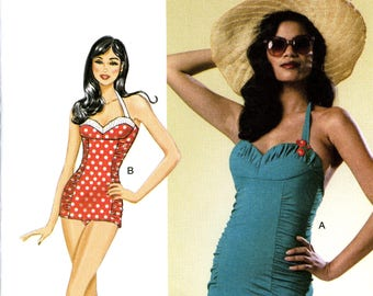Butterick B6067 Retro Modern Swimsuit Bathing Suit Halter Cup Size Variations Size 14 16 18 20 22 Uncut Sewing Pattern 2014
