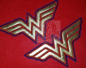 Wonder Woman Applique Logo Patch Gold and Red with Dark Royal Blue