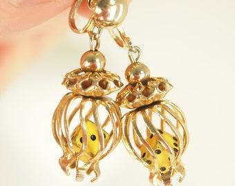50s Vintage Goldtone Caged Dice Novelty Screw Back Earrings