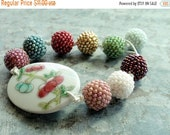 Half Price One week sale Beaded Ball Knotted Bracelet with Porcelain Embleshment