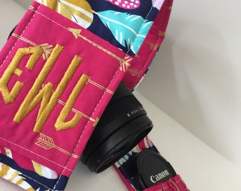 Custom Patchwork Camera Strap Cover with Monogram and elasticized lens cap pocket Made to order