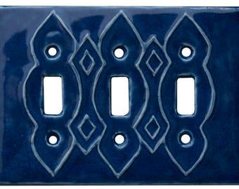 Moroccan Ceramic Light Switch Cover- Triple Toggle in Sapphire Glaze