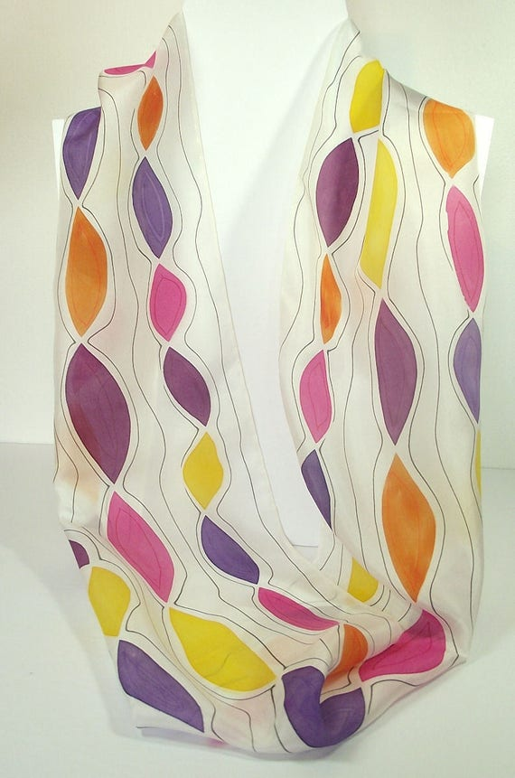 """Hand Painted Silk Infinity Scarf, 9x60"""", Jewel Colors - Purple, Pink, Orange, Plum, Yellow with Black Lines on White"""