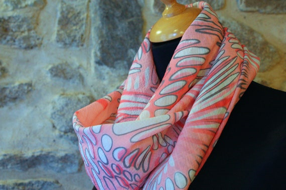 Viscose white bubble pink and gray, square scarf shawl. Sale empty workshop