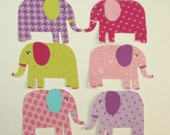 Elephant Iron On Fabric Appliques, 6 Piece Set
