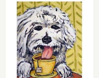 20 % off storewide Bichon Frise Having Tea Dog Art Print