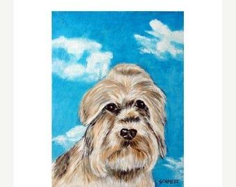 20 % off storewide Dandie Dinmont with the Sky Dog Art Print  JSCHMETZ modern abstract folk pop art AMERICAN ART gift