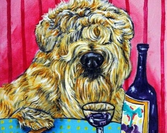 20 % off storewide Soft Coated Wheaton Terrier at the Wine Bar Dog Art Tile Coaster