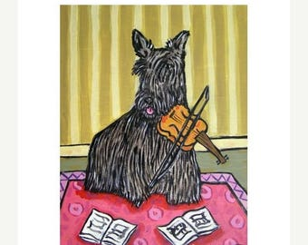 20% off storewide Scottish Terrier Playing the Violin Dog Art Print