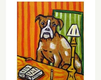 20% off Boxer Reading Dog Art Print