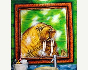 20% off Walrus Flossing Tusks Animal Art Print