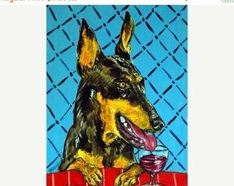 Doberman Pinscher at the Wine Bar Dog Art Print