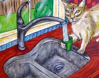 cat tile - cat art - Cat Getting a Drink Art Tile Coaster, cat gifts, gift