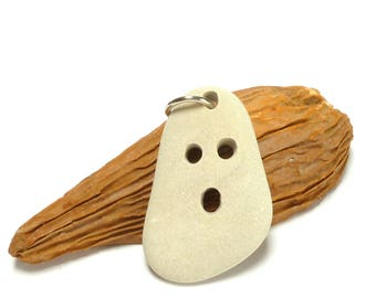 Genuine Drilled Beach Stone BOO Focal Jewelry Bead Pebble Pendant White Sand Stone Carved Rock Halloween Necklace Dangle