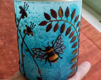 Bee Amongst the Wildflowers Sculpted with Polymer Clay onto an Upcycled Glass Candle Holder in Turquoise