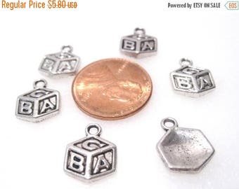 50% Off 12 Building Block Charms, A B C Blocks Charms Antique Silver tone 14x10mm C0365