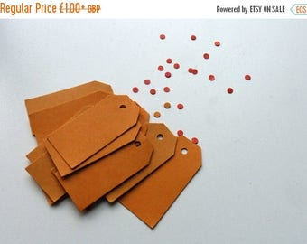 CLOSING DOWN SALE Orange thick card price tags hang tags 2 x 1 inches